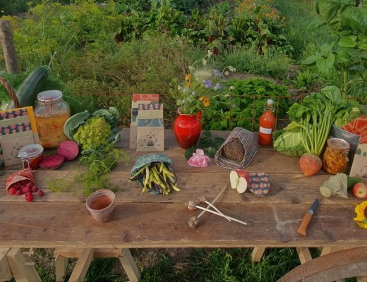 Selection of fruit and veg in a wax wrap